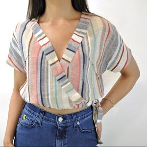 Stripped Crop Top with Tie - M